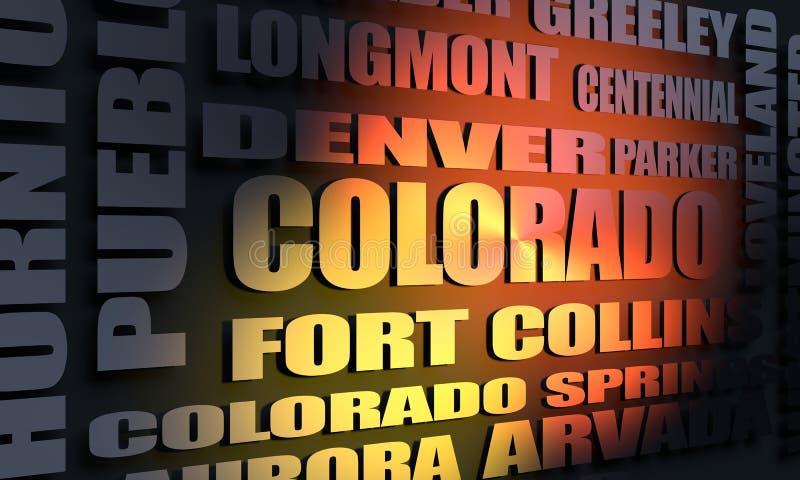 Liste de villes du Colorado illustration libre de droits