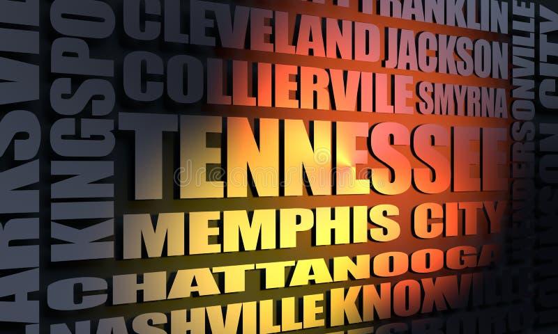 Liste de villes du Tennessee illustration stock