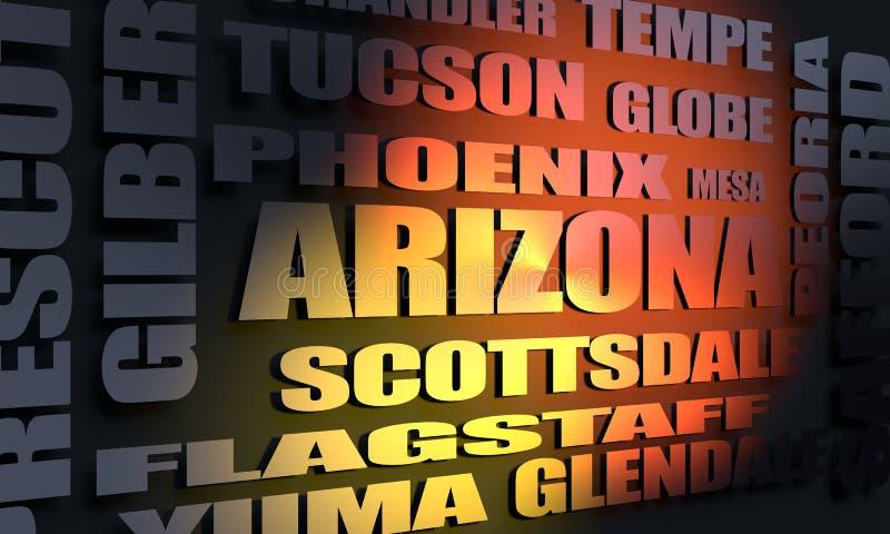 Liste de villes de l'Arizona illustration stock