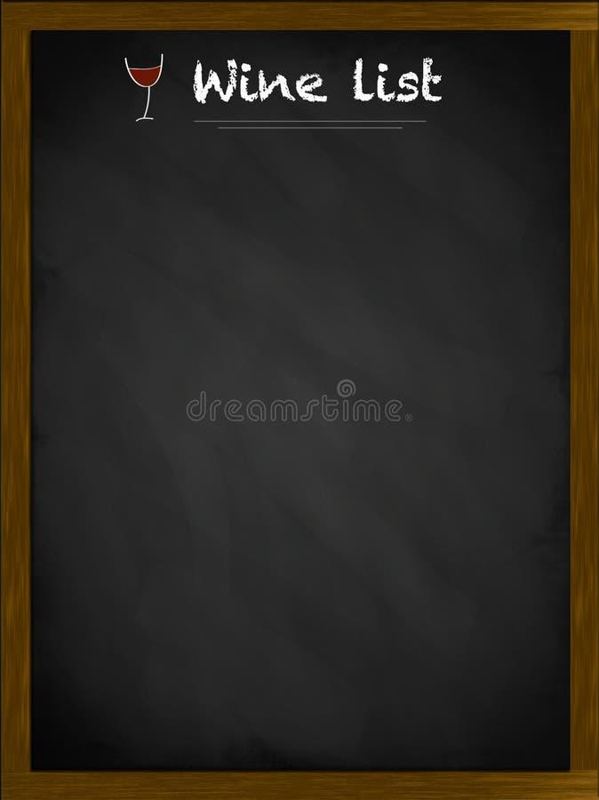 Liste de vin sur un tableau noir encadré illustration stock
