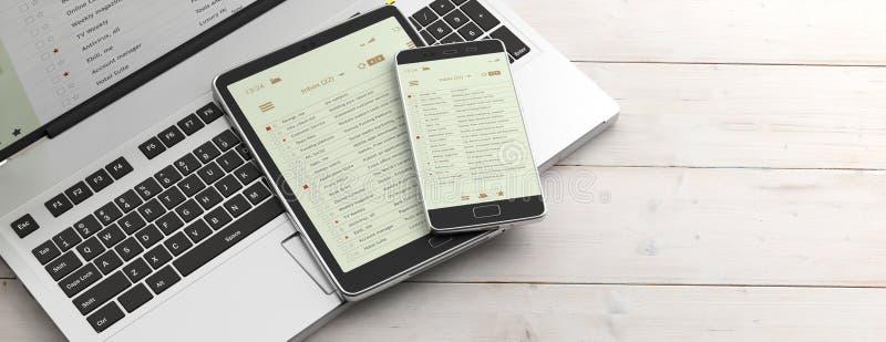 Liste del email sugli schermi della compressa e dello smartphone, sulla tastiera di computer e sulla scrivania, insegna illustraz illustrazione vettoriale