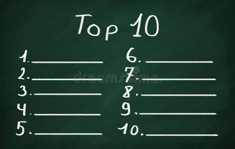 Liste der Spitze zehn lizenzfreie stockfotos