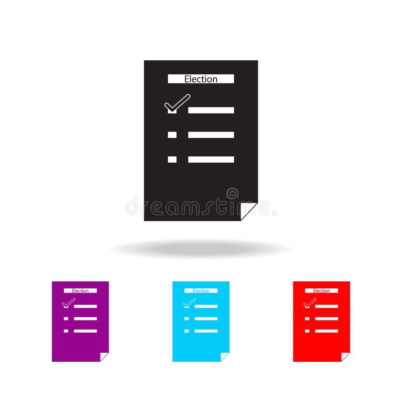 Liste der Wahlikone Elemente der Wahl in den multi farbigen Ikonen Erstklassige Qualitätsgrafikdesignikone Einfache Ikone für Web lizenzfreie abbildung