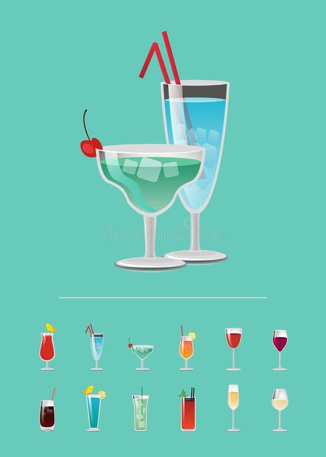 Liste des Cocktails wählen erneuerndes alkoholisches Getränk stock abbildung