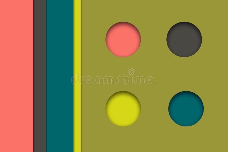 Liste differenti e quattro bottoni, effetto tagliato multicolore e di carta illustrazione vettoriale