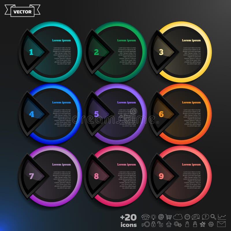 Liste infographic de conception de vecteur avec les cercles colorés illustration libre de droits
