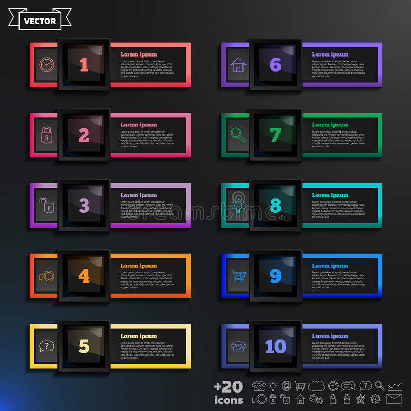 Liste infographic de conception de vecteur avec les places colorées illustration de vecteur