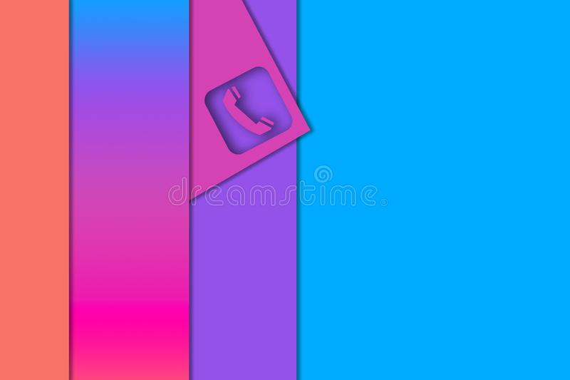 Liste multicolori del segno del telefono e della carta, efect tagliato di carta illustrazione vettoriale