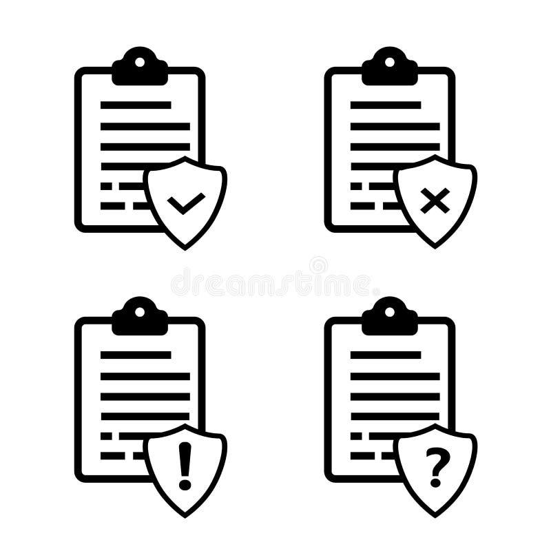 Liste o icone di vettore di protocolli illustrazione vettoriale