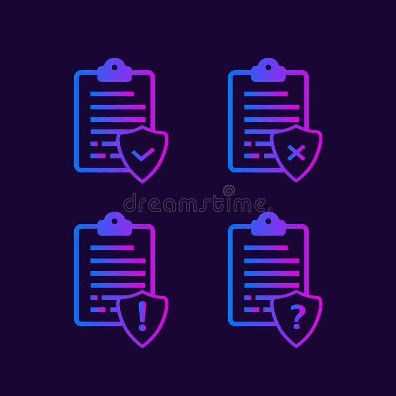 Liste o icone di vettore di protocolli royalty illustrazione gratis