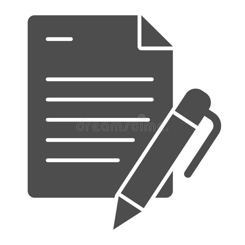 Liste und feste Ikone des Stiftes Papiere mit der Stiftvektorillustration lokalisiert auf Weiß Anmerkung Glyph-Artentwurf, entwor lizenzfreie abbildung