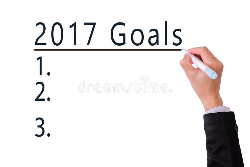 Liste vide de buts pour le concept 2017 d'année photo libre de droits