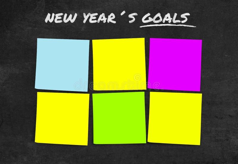 Liste von Beschlüsse und von Zielen des neuen Jahres in den klebrigen Anmerkungen leer mit Kopienraum für das Hinzufügen des Text lizenzfreie stockbilder