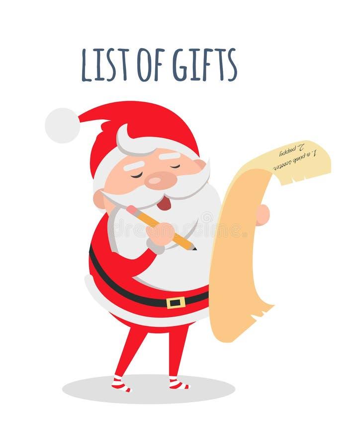 Liste von Geschenken Santa Claus mit Wunschliste-Vektor lizenzfreie abbildung