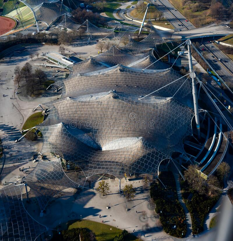 The listed roof of the Olympic Stadium, Munich - January, 12 2020 royalty free stock photography