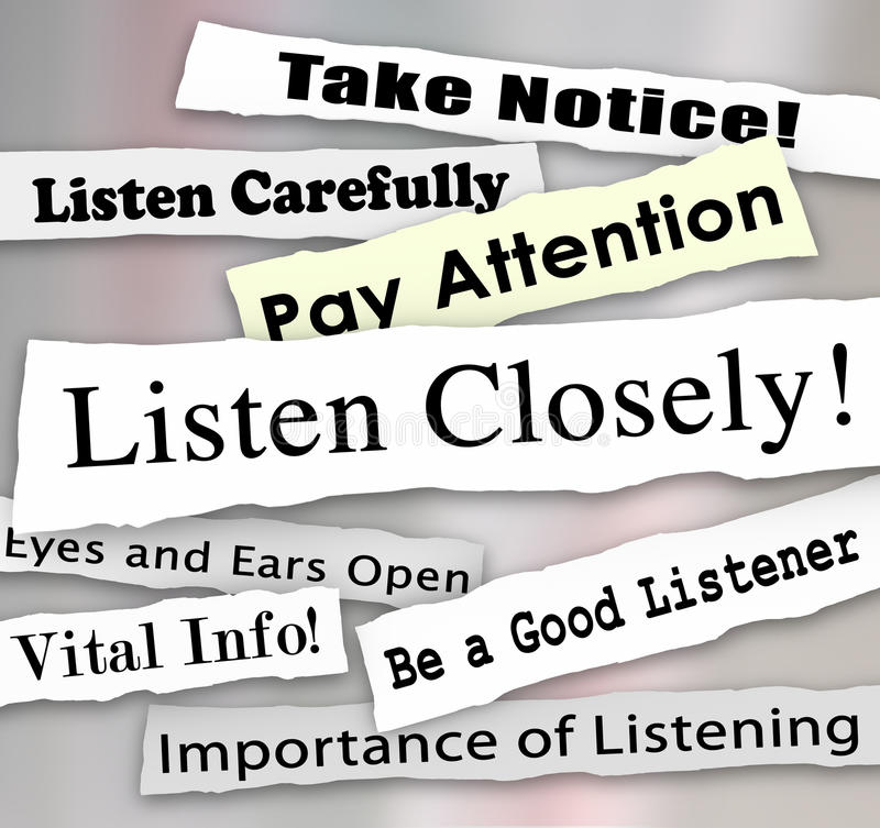 Listen Closely Newspaper Headlines Words Pay Attention vector illustration