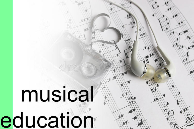 Listen courses music notes background stock photography
