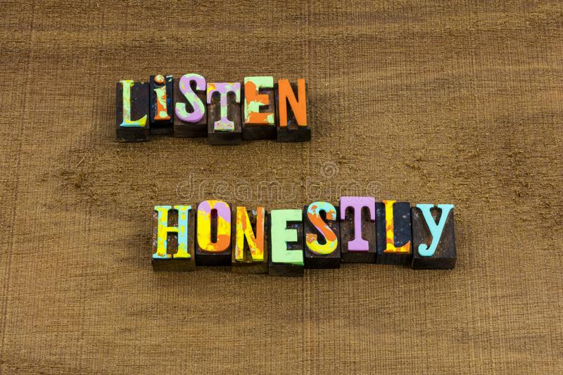 Listen honestly good listener habits conversation learn phrase stock photo