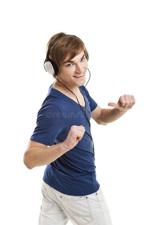 Listen Music With Headphones Stock Photo
