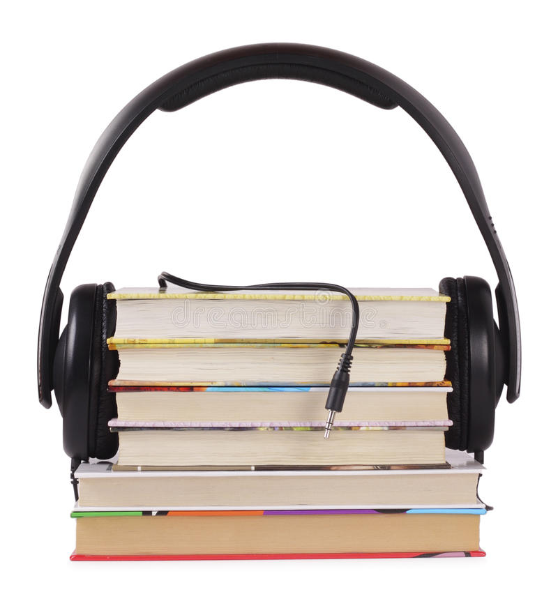 Listen to books. Headphones are ready to listen books, you need only connect stock photos