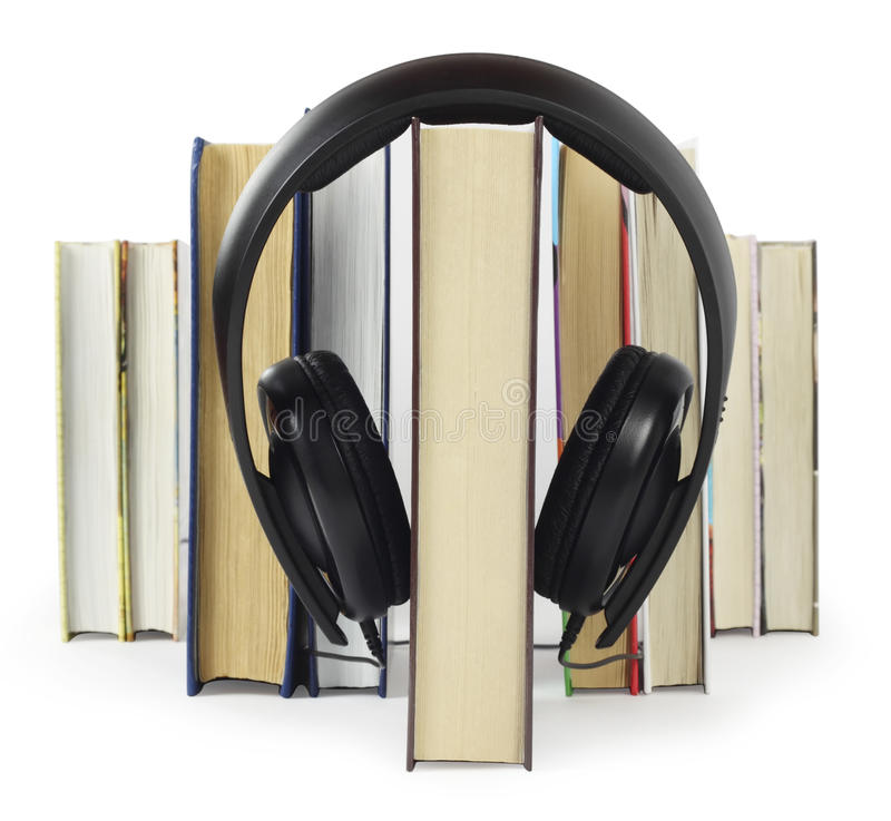Listen to books. Listen to the first book, other books are in the queue stock image