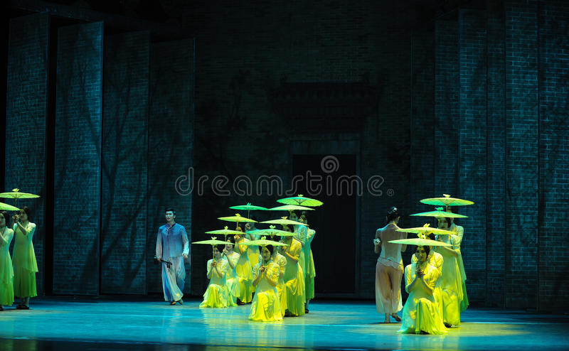 Listen to the rain get inspiration-The second act of dance drama-Shawan events of the past. Guangdong Shawan Town is the hometown of ballet music, the past stock photo