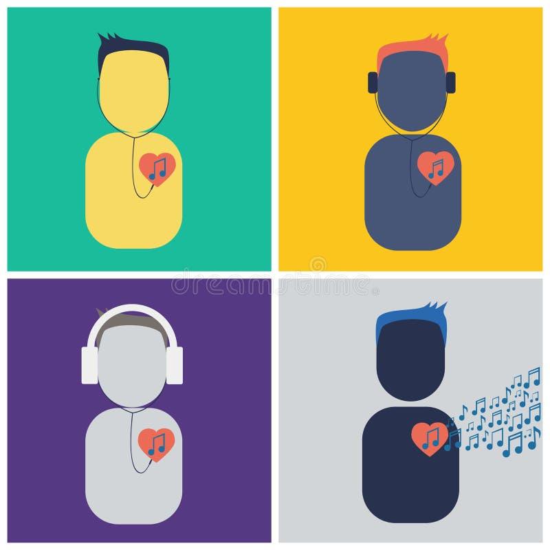 People listen music heart stock illustration