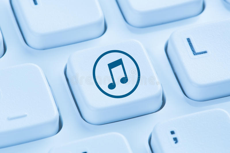 Listening download downloading streaming music internet blue com royalty free stock photos