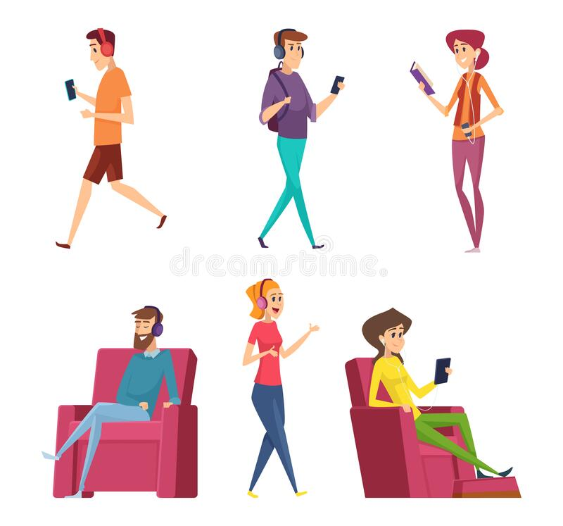 Free Listening Headset Music. Characters Male And Female Relaxing On Sofa Or Couch Happy Persons Laying Vector Cartoon People Royalty Free Stock Photos - 172877718