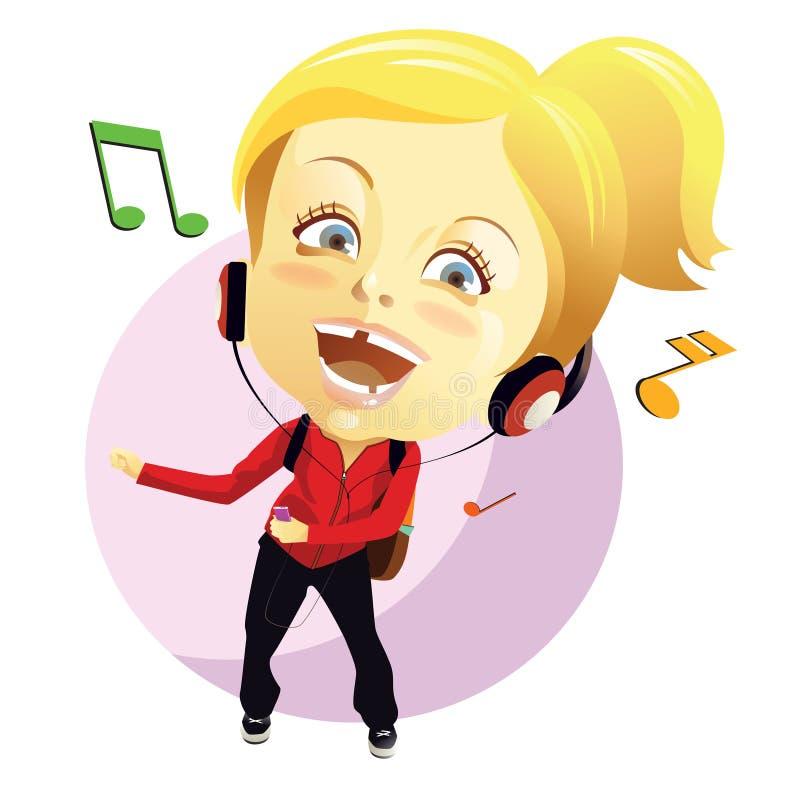 Listening music vector illustration