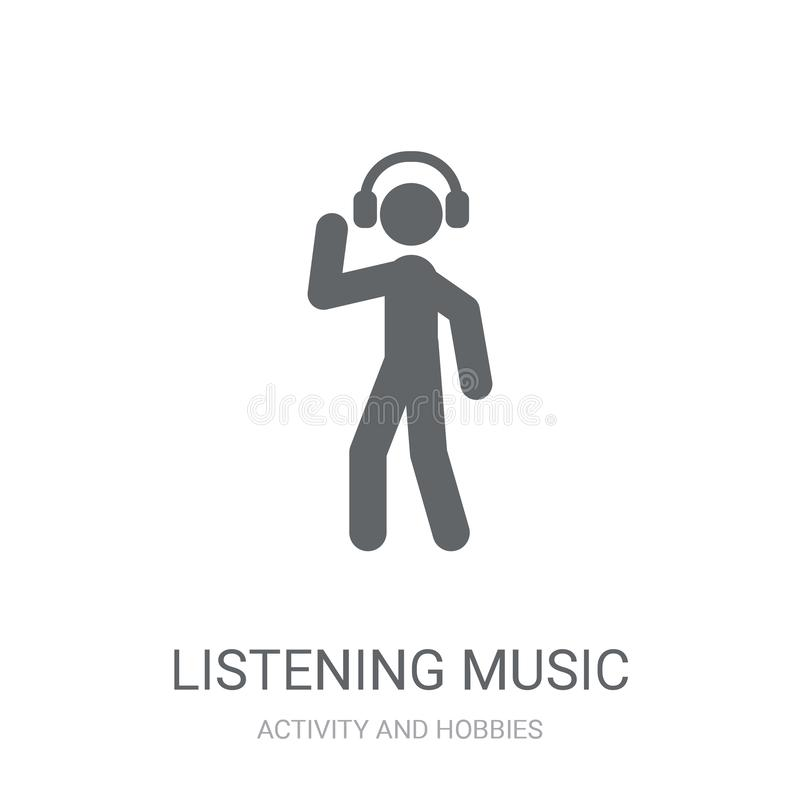Listening Music icon. Trendy Listening Music logo concept on white background from Activity and Hobbies collection royalty free illustration