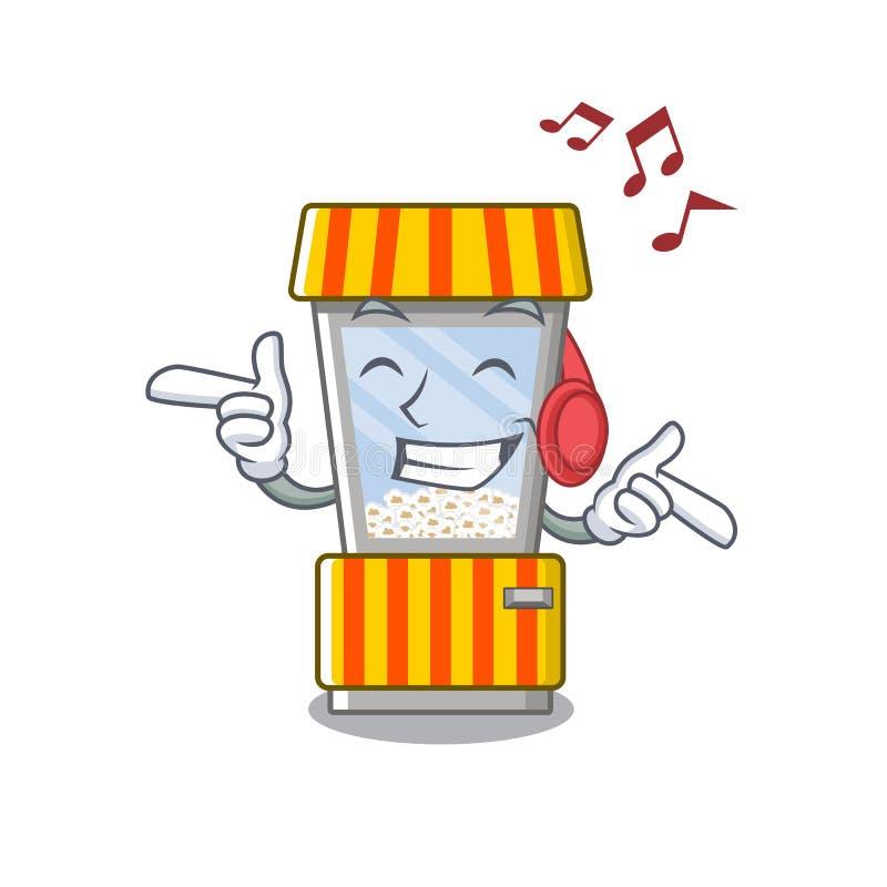 Listening music popcorn vending machine is formed cartoon. Illustration vector stock illustration