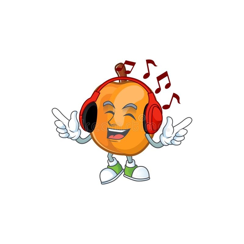 Listening music ripe apricot character mascot of cartoon. Vector illustration vector illustration