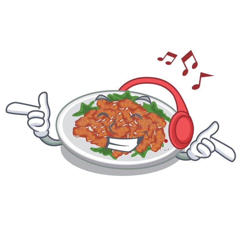 Listening music sesame chicken in a cartoon bowl. Vector illustration royalty free illustration