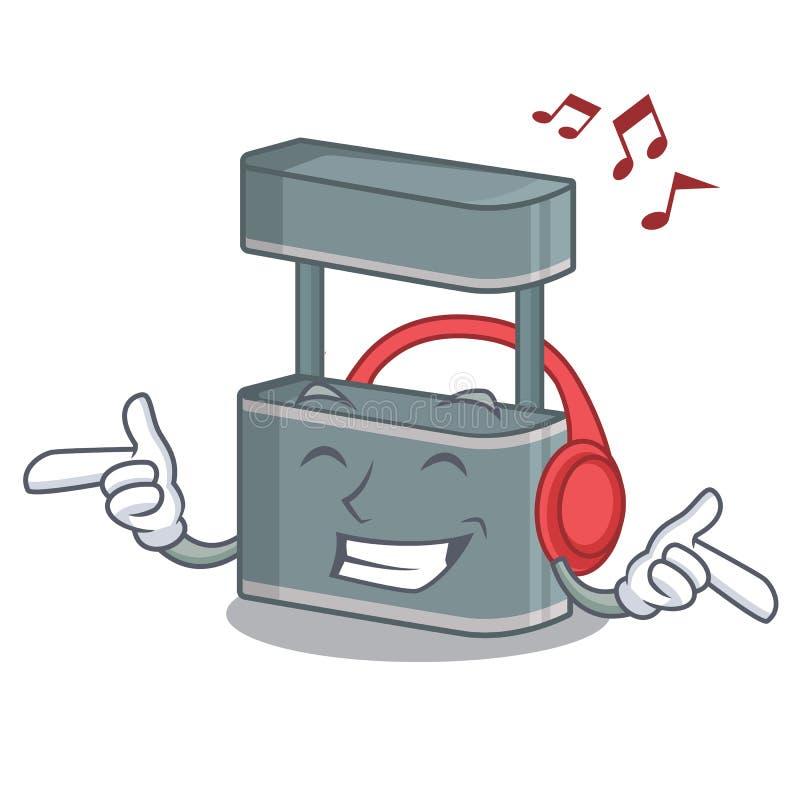 Listening music trade stand on the cartoon roadside. Vector illustration vector illustration