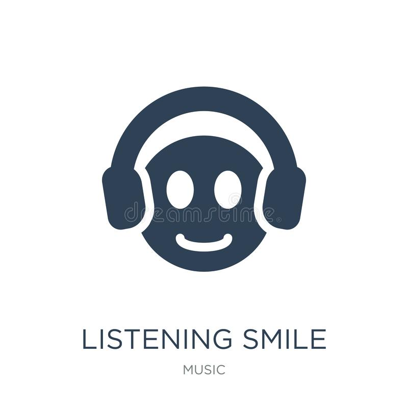 listening smile icon in trendy design style. listening smile icon isolated on white background. listening smile vector icon simple royalty free illustration