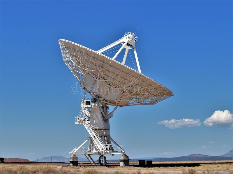 Listening for Sounds at Very Large Array. The Very Large Array, VLA is an astronomical radio observatory on the Plains of San Agustin near Socorro, New Mexico stock image