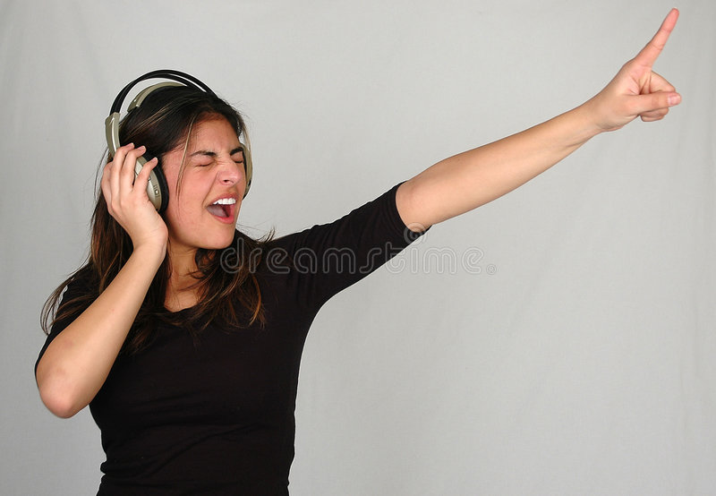 Listening to music-1 stock image