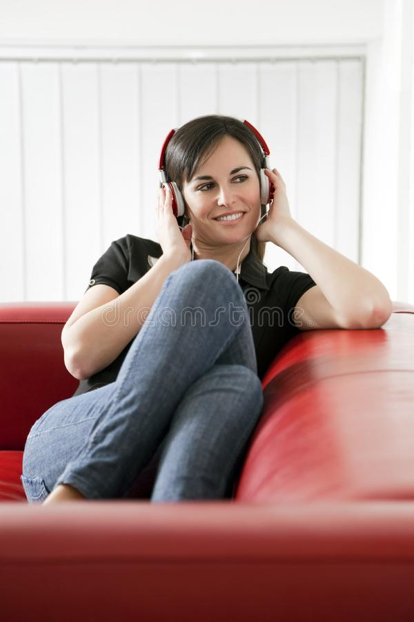 Listening to music stock image