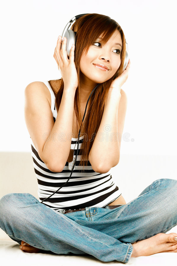 Listening to the music royalty free stock photography