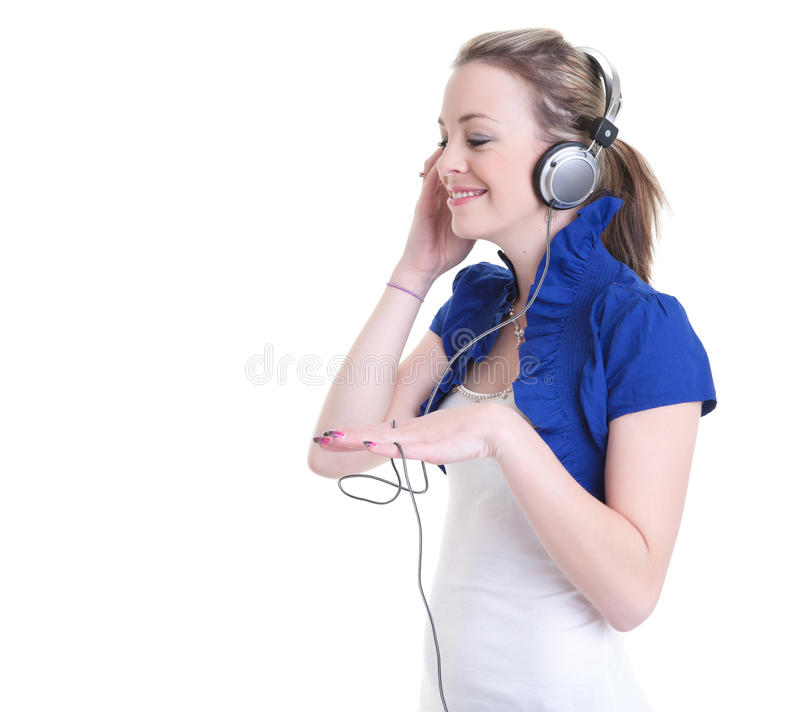 Listening to music headphones stock photo