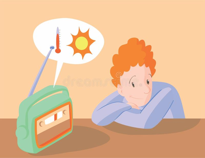 Boy listening to weather forecast on radio stock illustration