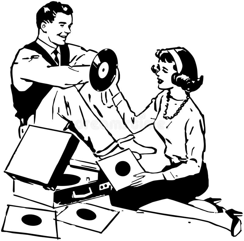 Listening To Records stock illustration