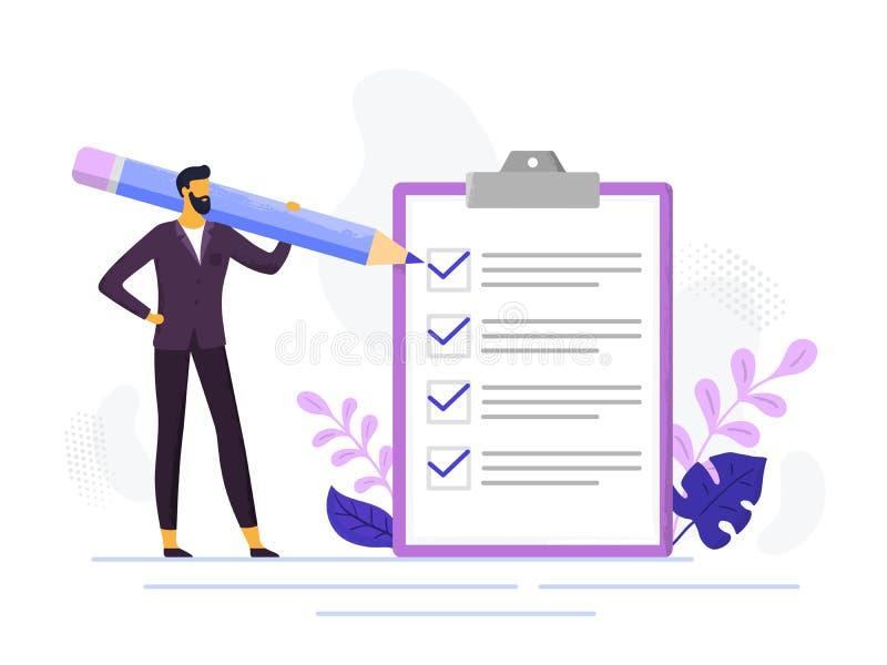 Listes de contrôle d'affaires de contrôle de liste de contrôle d'homme d'affaires, crayon de participation de personne masculine  illustration stock