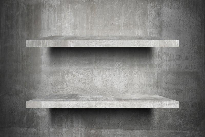Listo superior de los estantes concretos vacíos dobles para el montaje de la exhibición del producto libre illustration