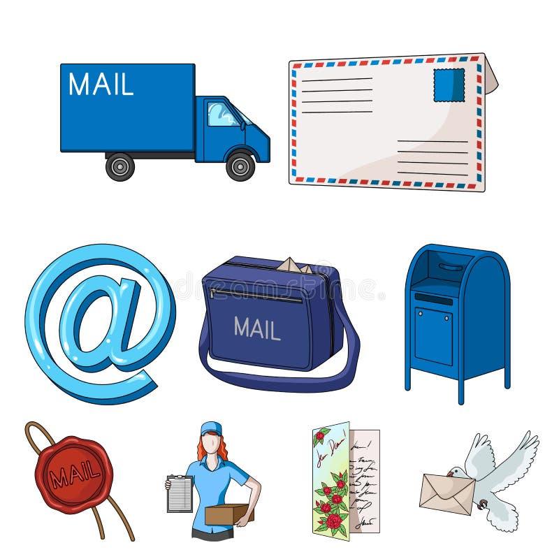 Listonosz, koperta, skrzynka pocztowa i inni atrybuty usługi pocztowe, Poczta i listonosza ustalone inkasowe ikony w kreskówce ilustracja wektor