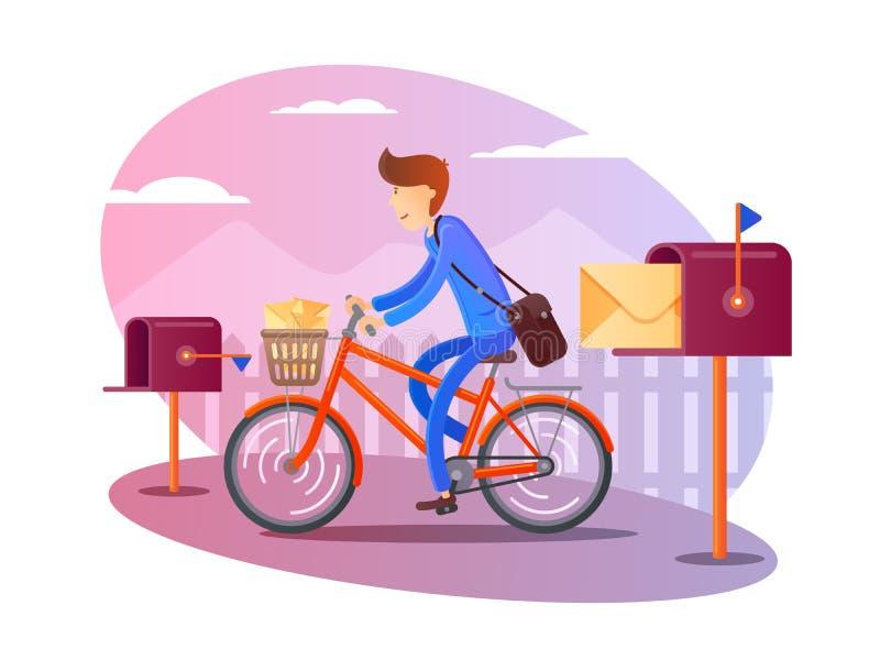 Listonosz na bicyklu dostarcza listy royalty ilustracja
