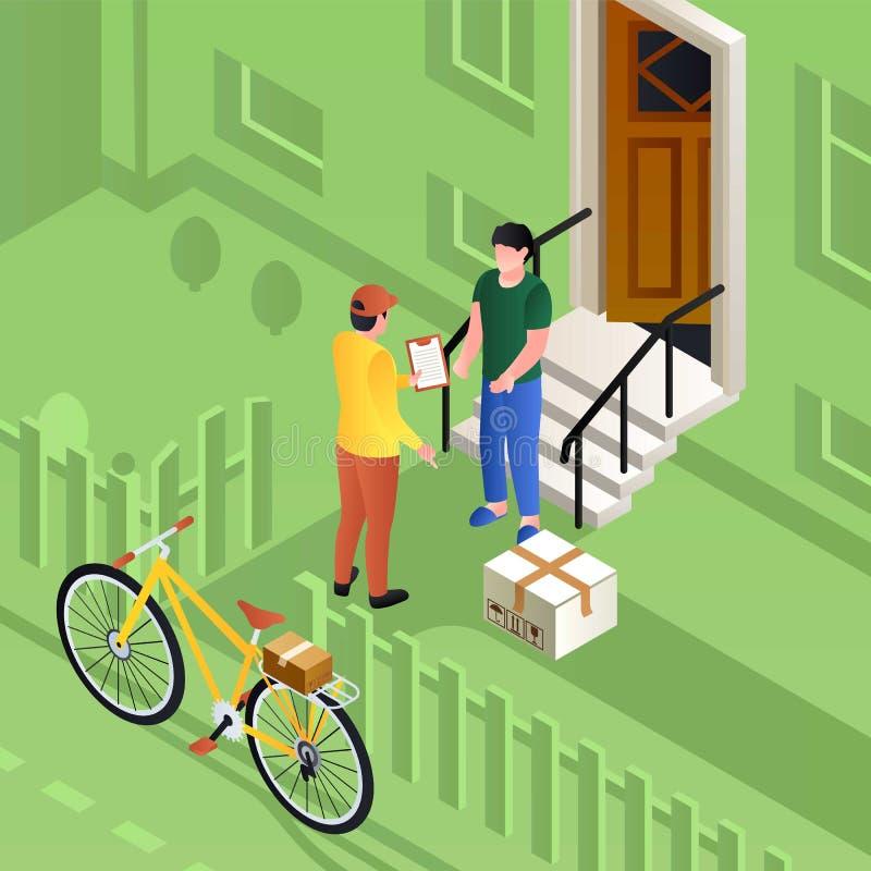 Listonosz na roweru pojęcia doręczeniowym drobnicowym tle, isometric styl royalty ilustracja