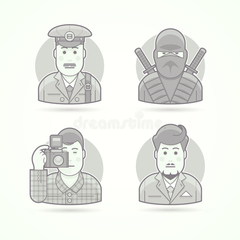 Listonosz, ninja wojownik, fotograf, biznesowego mężczyzna ikony Set charakteru portreta wektoru ilustracje ilustracja wektor