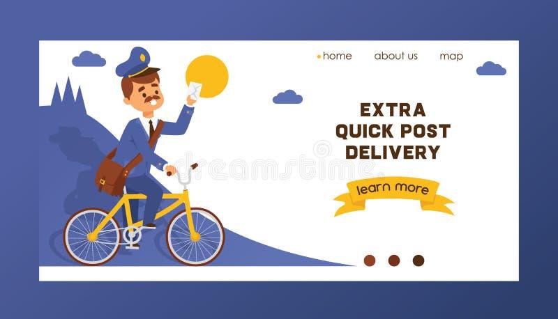 Listonosz strony internetowej wektorowy desantowy mailman dostarcza poczty w postbox lub charakter mailed tle skrzynki pocztowej  ilustracja wektor